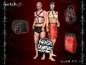 Kinky fetish clothes with leather and latex belts